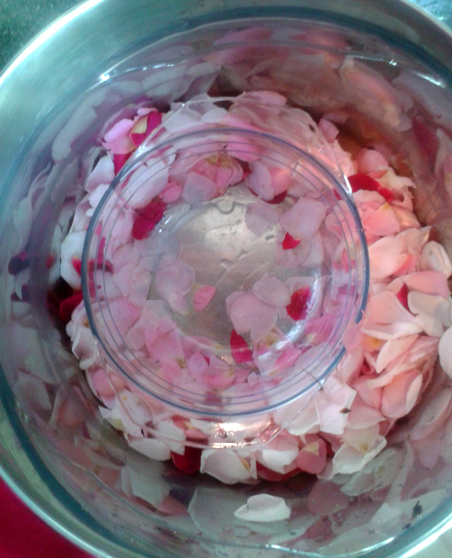 Surround the bowl with the petals and water.