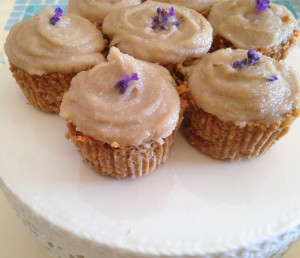 As cupcake with the dairy free frosting, topped with lavender!
